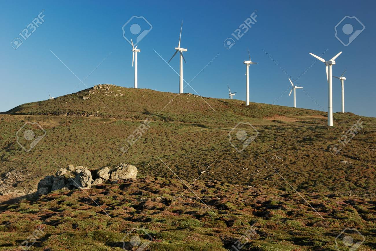 wind turbines over green mountains Stock Photo - 13856403