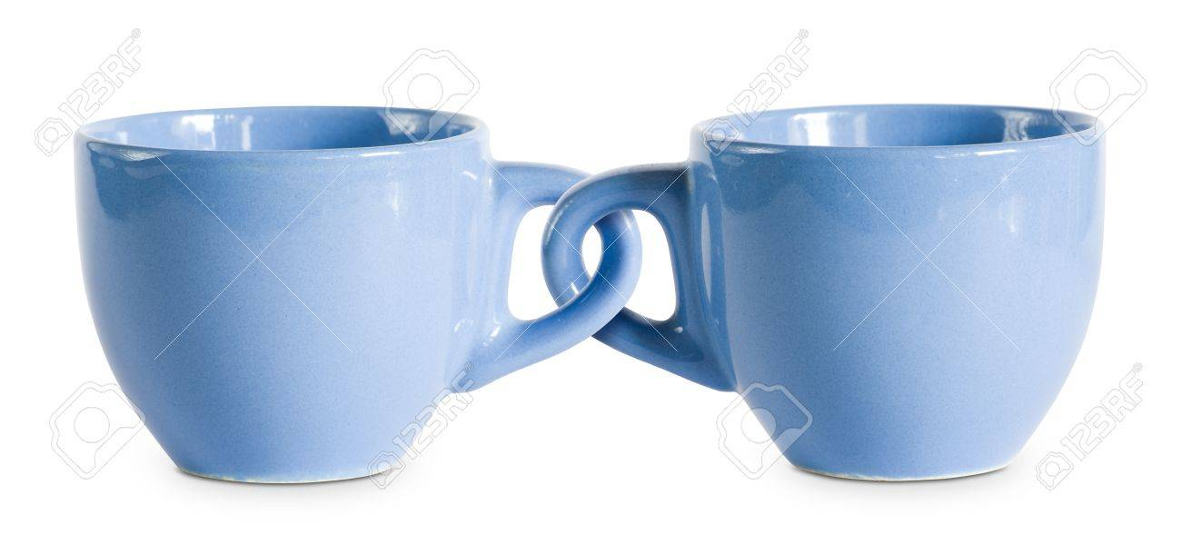 Two for the price of one cups, concept on blue coffe cops with interlocked handles. Stock Photo - 9324403