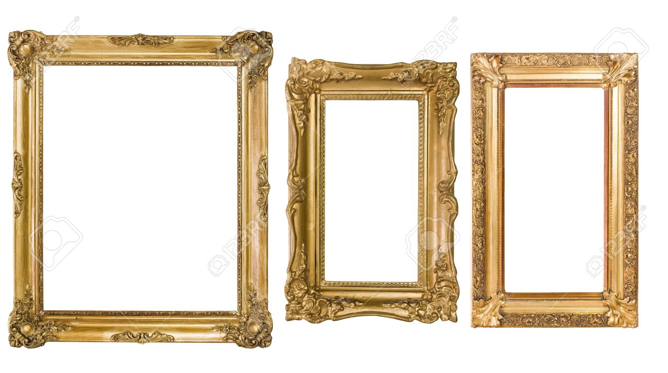 an assortment of empty classic vintage picture frames isolatedon white background stock photo 9861388