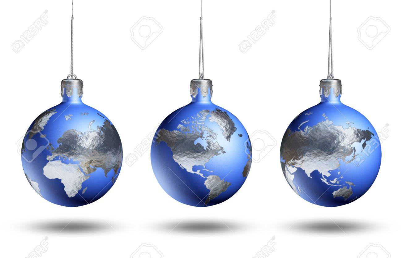 World globe christmas ornaments - Earth As Christmas Decor Rotated For Viewing Europe Africa Asia Americas Isolated