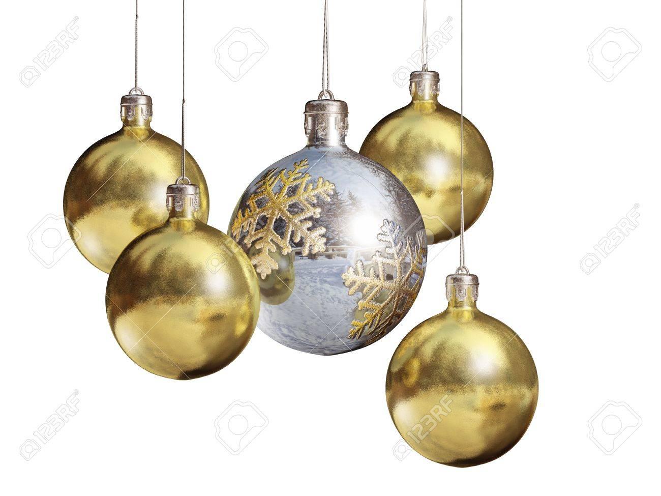 Elegant shiny christmas baubles isolated on white background. Stock Photo - 9861444