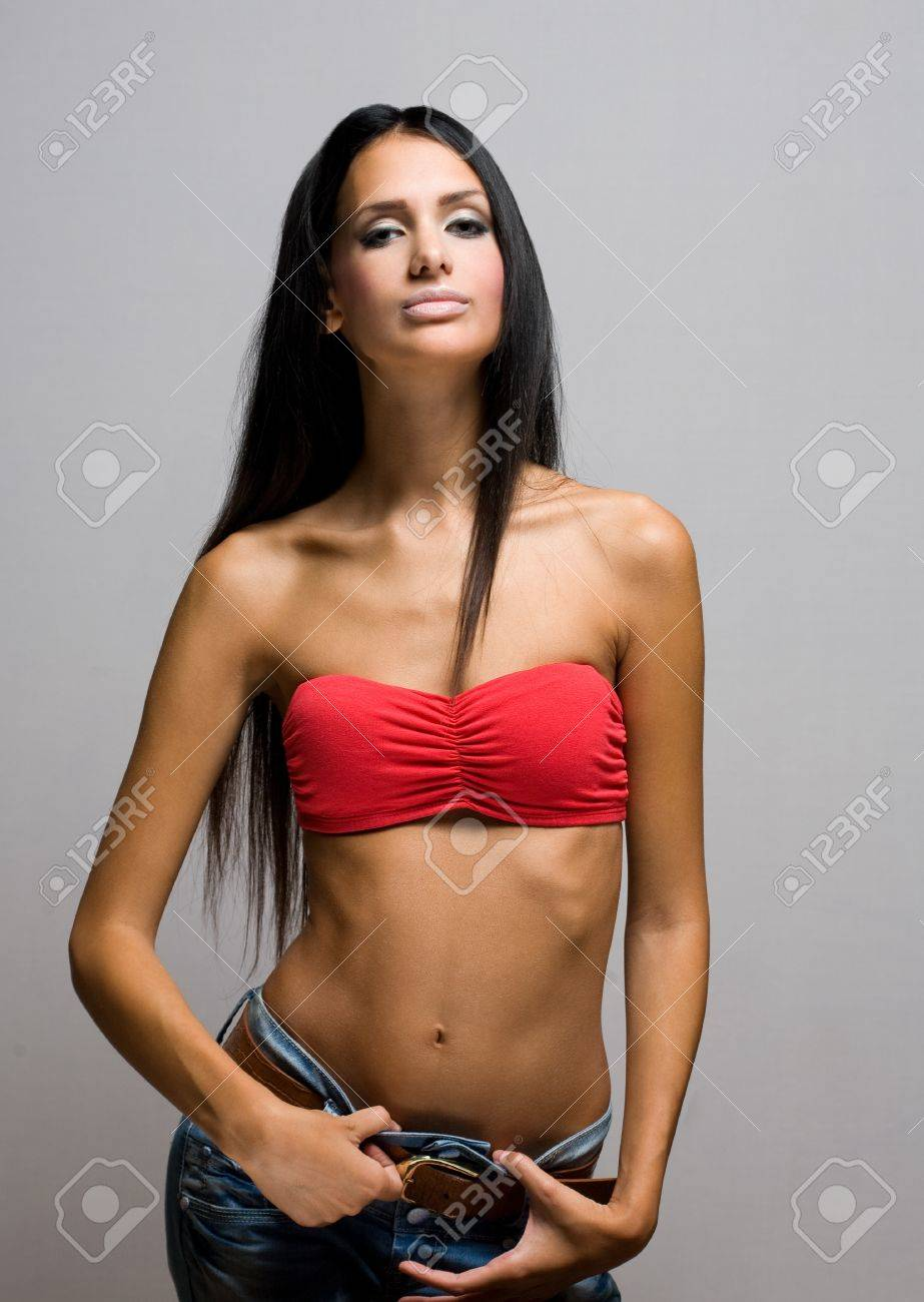 2842ad7d80b9 Half figure portrait of a beautiful skinny brunette. Stock Photo - 16056933