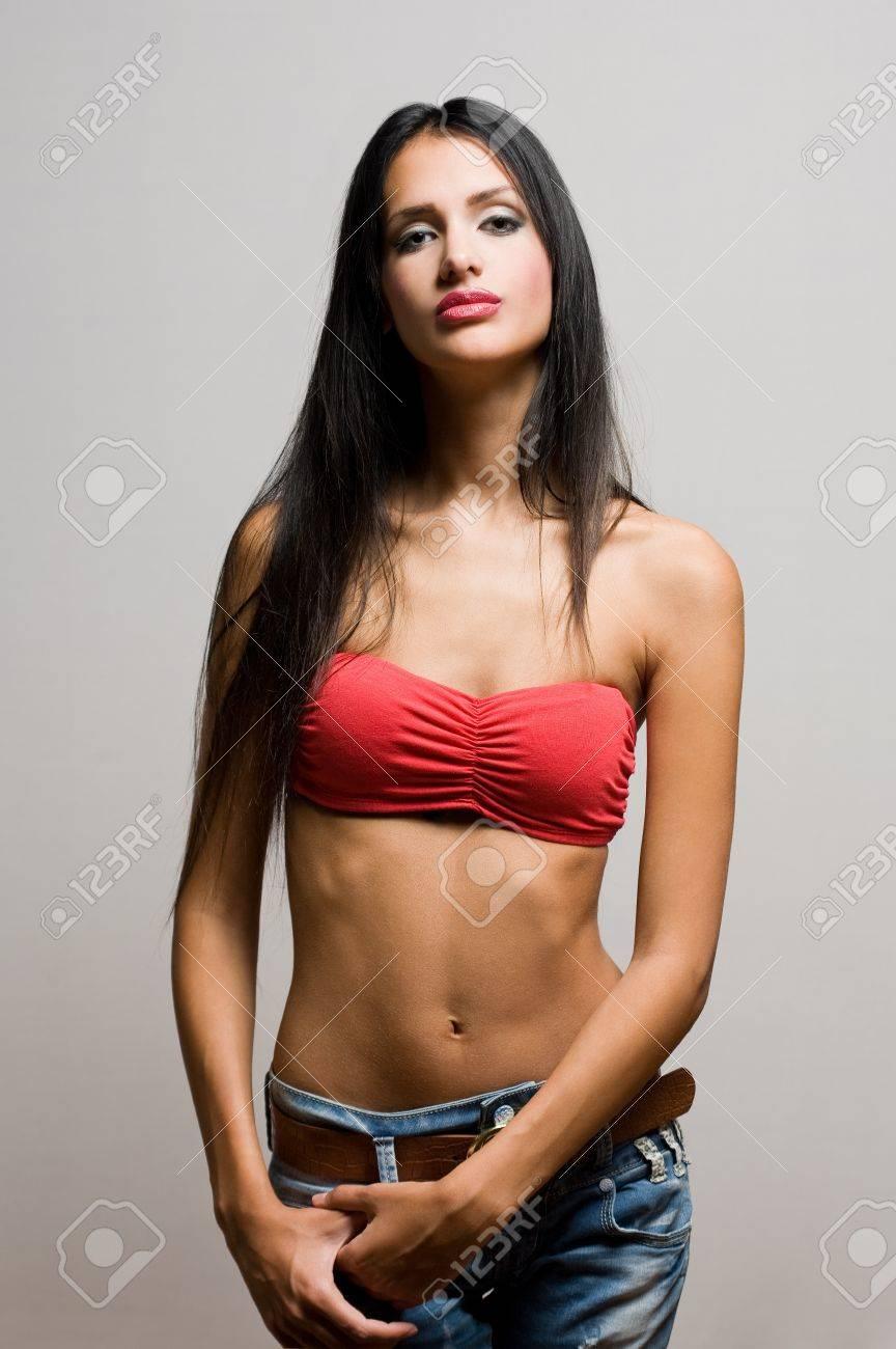 5cd1e5dbb528 Half figure portrait of a beautiful skinny brunette. Stock Photo - 16056955