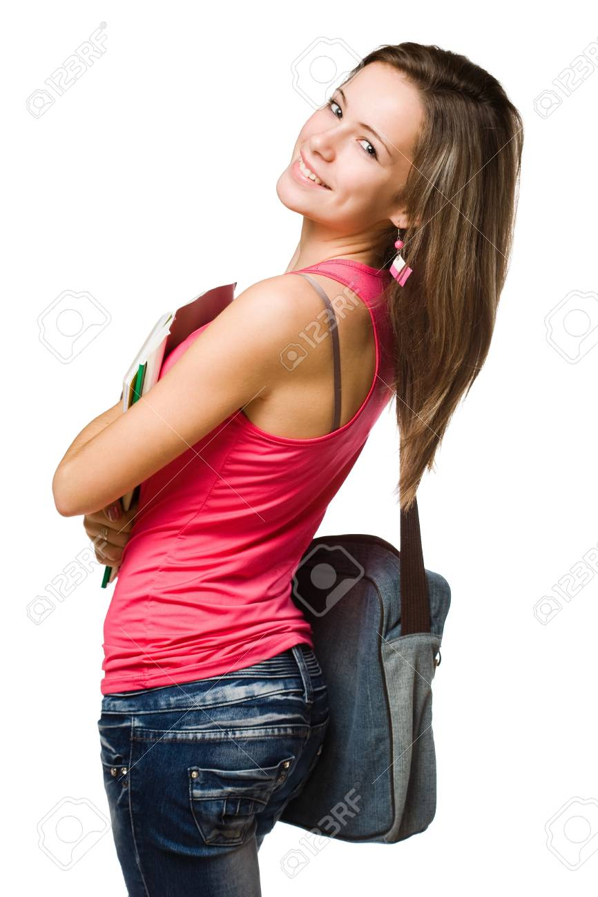 Portrait of a confident cheerful young student girl. Stock Photo - 16600365