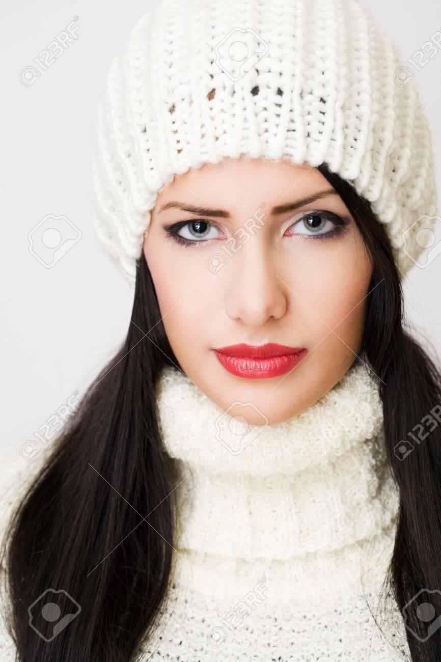Closeup portrait of a winter fashion brunette beauty Stock Photo - 16904000