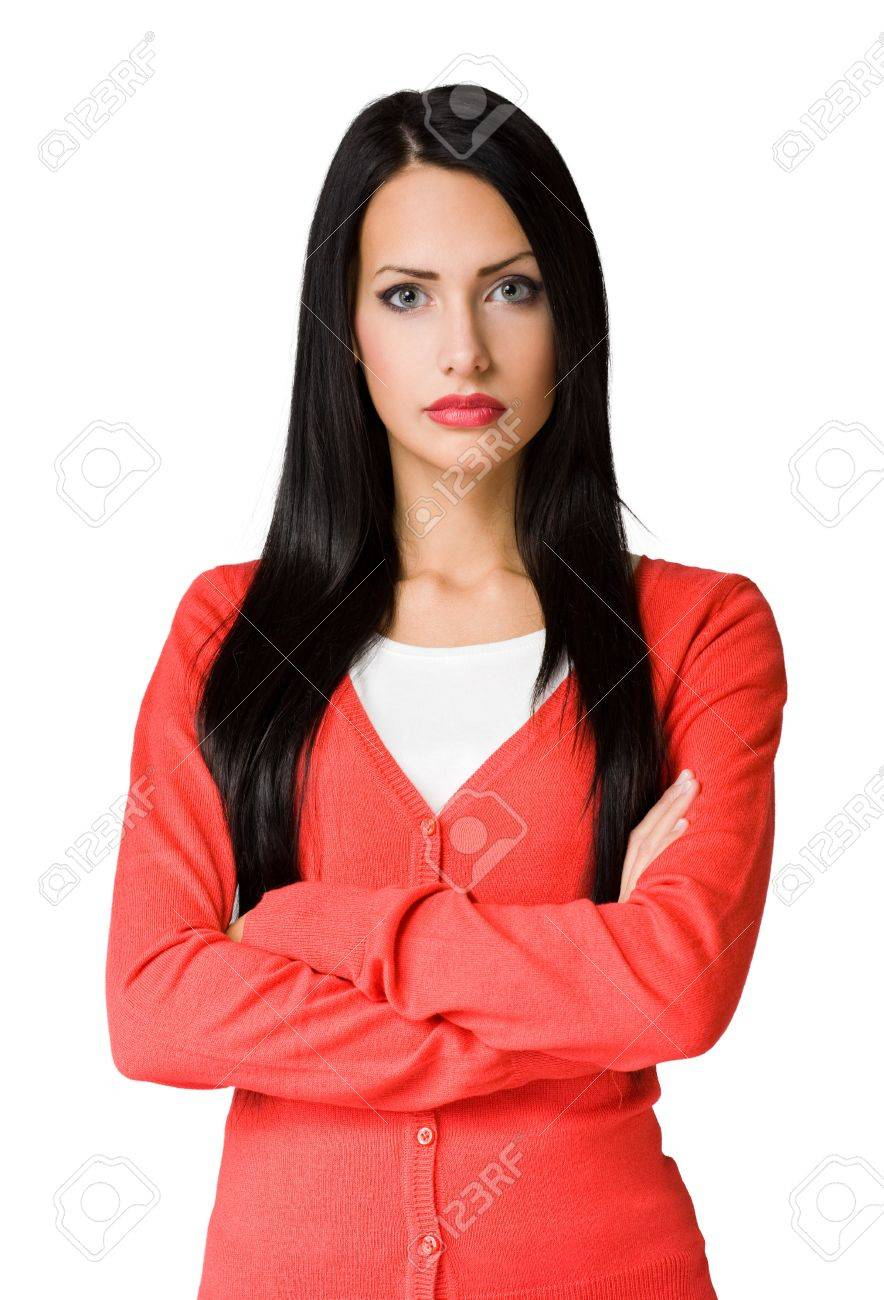 Angry hostile looking elegant beautiful young business woman Stock Photo - 16904002
