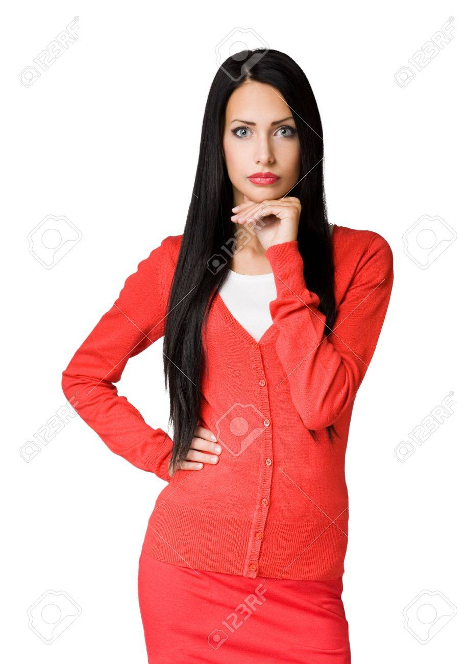 Half length portrait of a brunette beautiful businesswoman. Stock Photo - 17367721