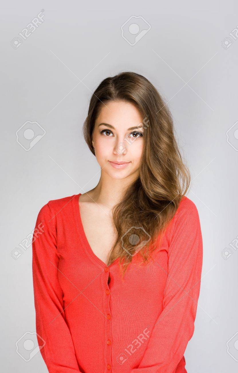 Portrait Of A Beautiful Shy Young Brunette Woman Stock Photo Picture And Royalty Free Image Image 17851910