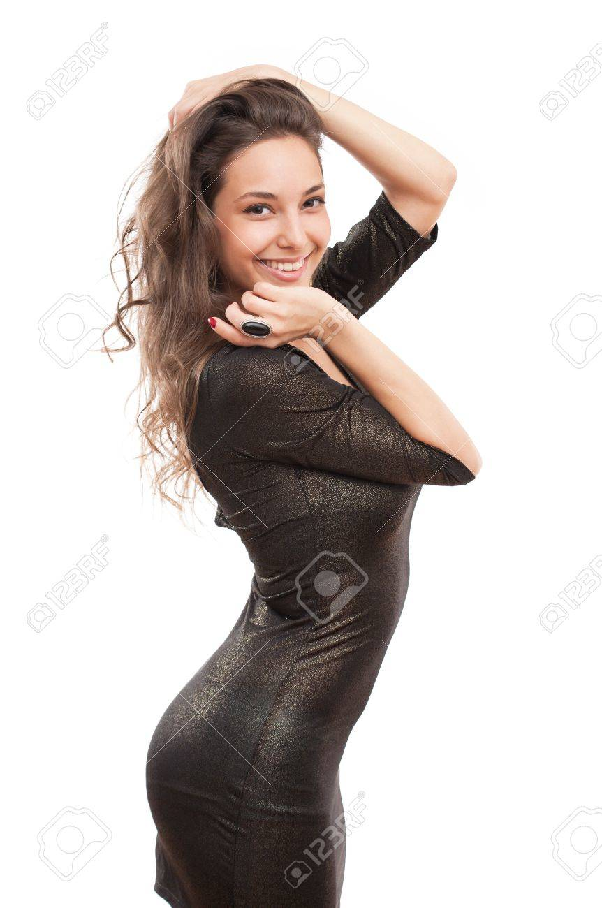 5918c0936ce2 Portrait of festive gorgeous young brunette in tight black sequin dress  Stock Photo - 20728060
