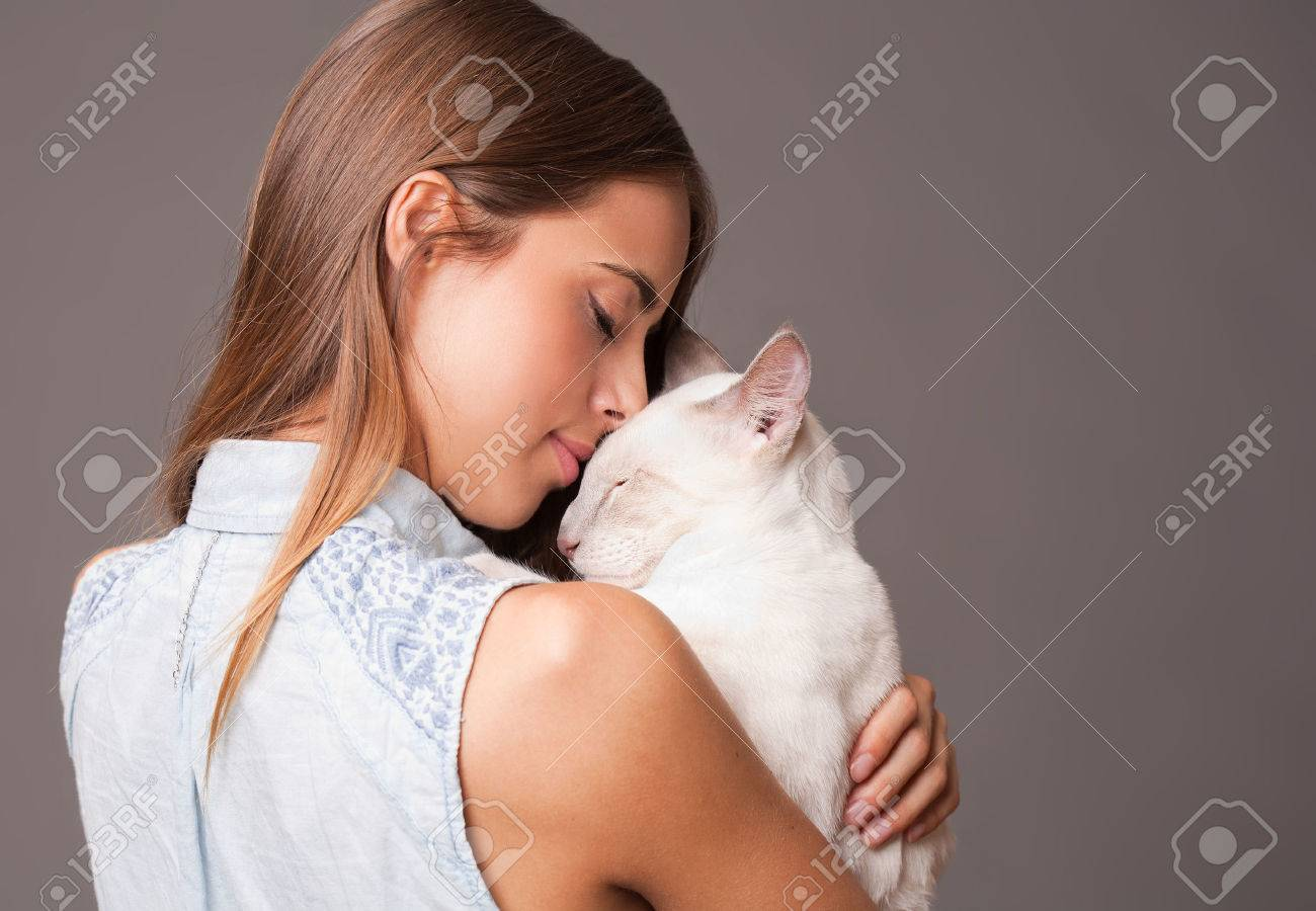 Portrait of a brunette beauty with siamese cat. - 43775310
