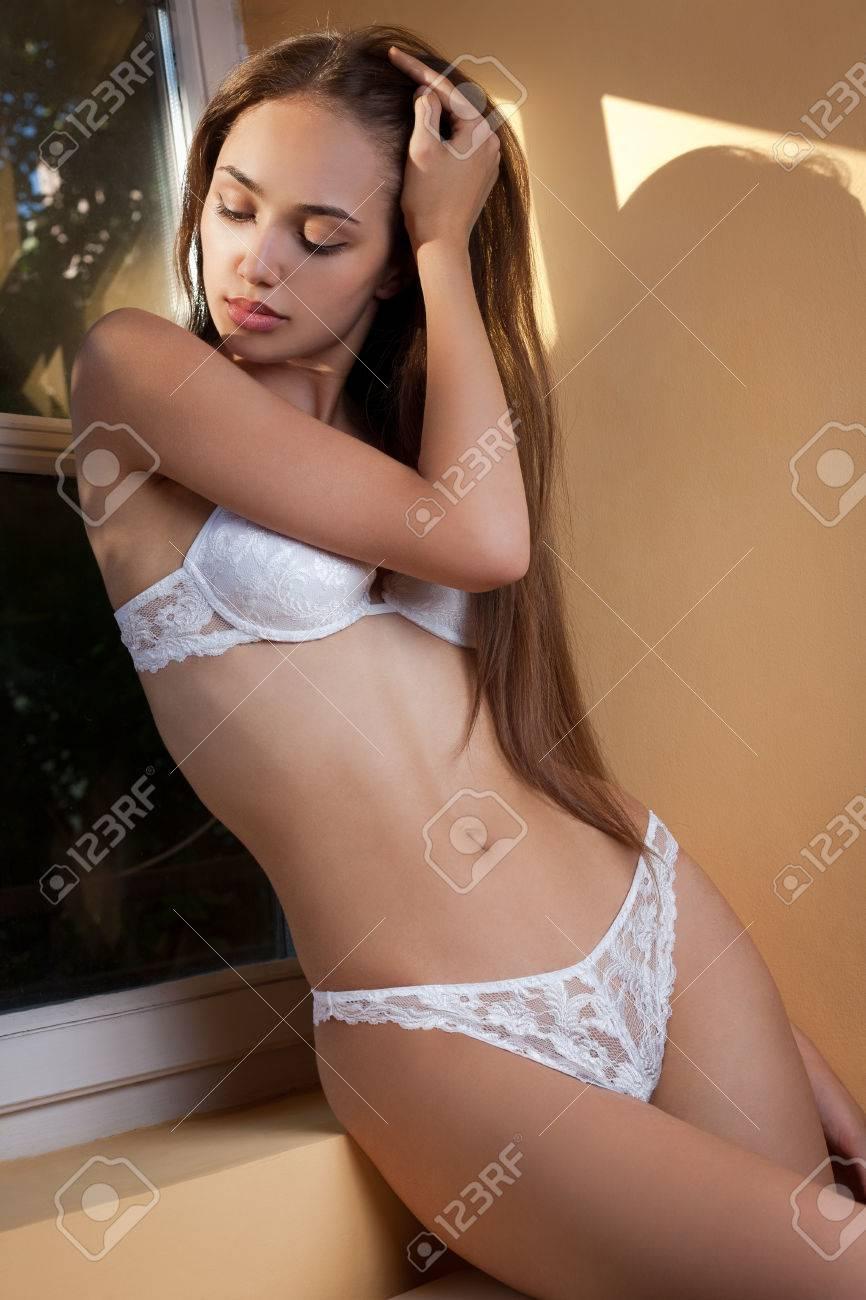 Artistic portrait of sensual lingerie brunette in creative lighting. Stock  Photo - 44397502 81a5a236841