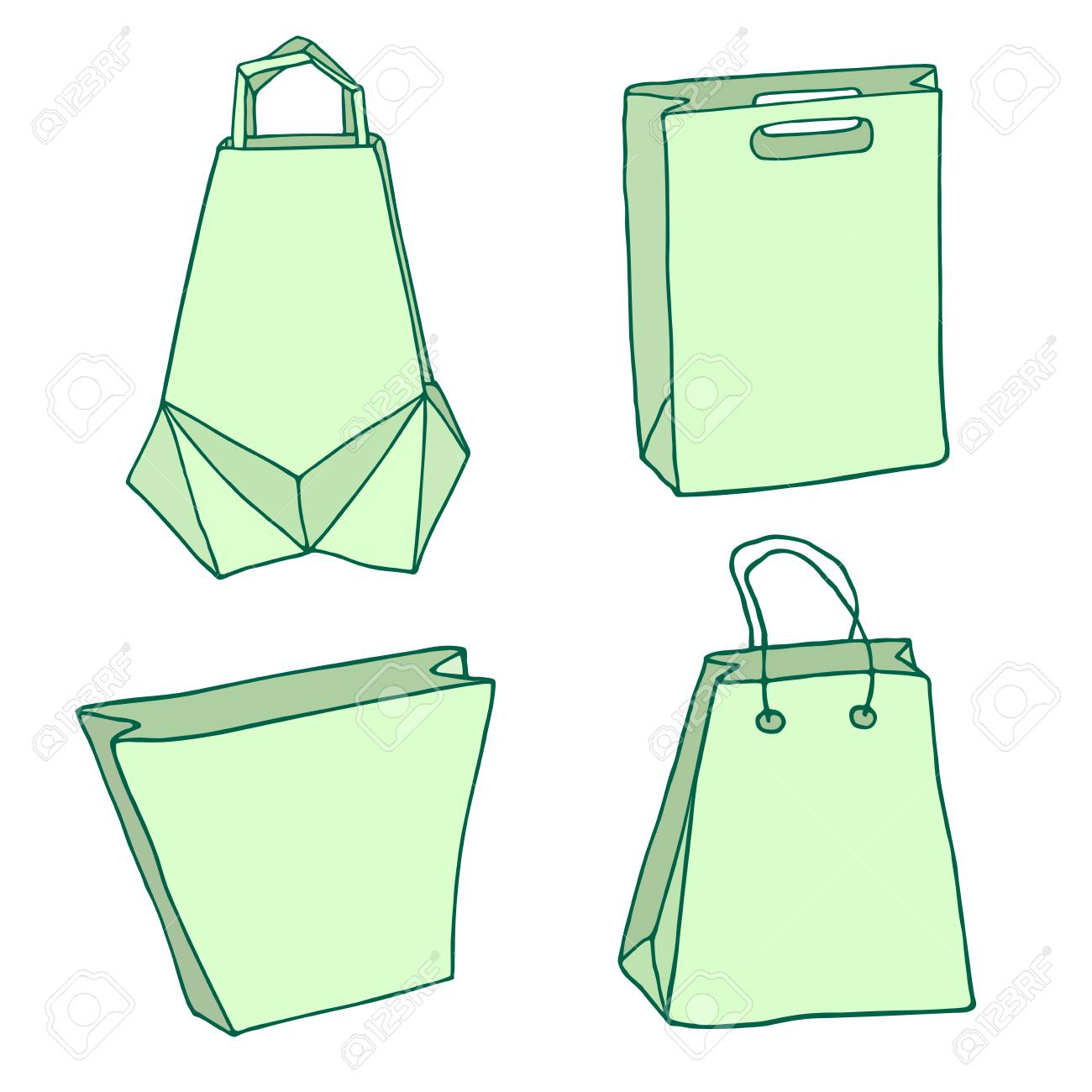 4a25c4b8368 Various Shopping bags. Handbags, carriers, innovative origami bag, paper  bags. Vector