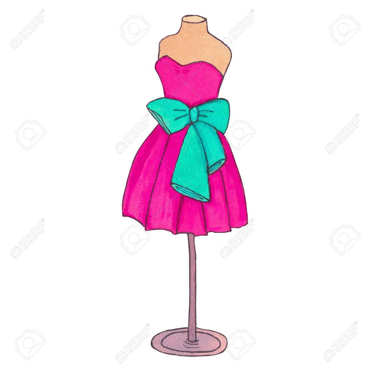 Colorido Vestido De Cóctel Con Un Arco. Maniquí De Vestido De Bola ...