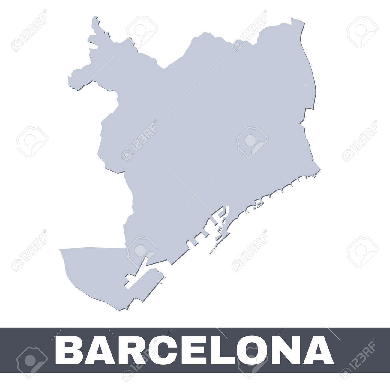 Barcelona outline map. Vector map of Barcelona city area within its borders. Grey with shadow on white background. Isolated illustration. - 161392680