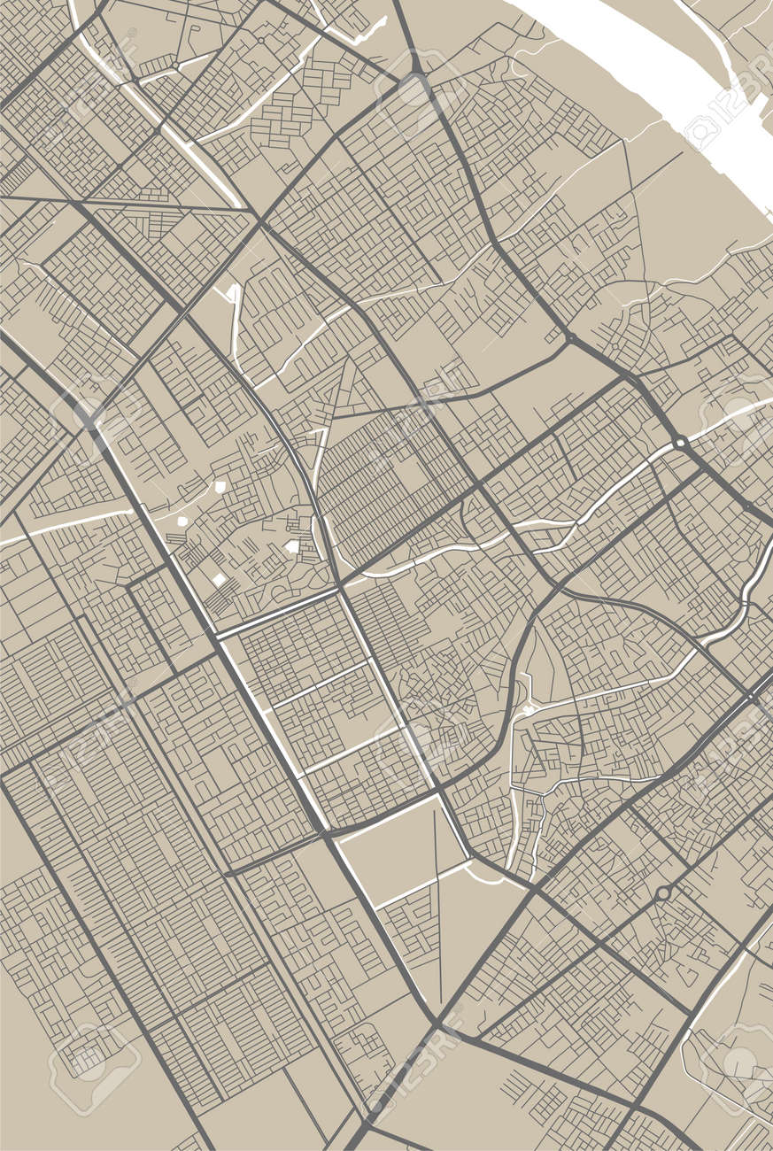 Detailed map of Basra city administrative area. Royalty free vector illustration. Cityscape panorama. Decorative graphic tourist map of Basra territory. - 161392689