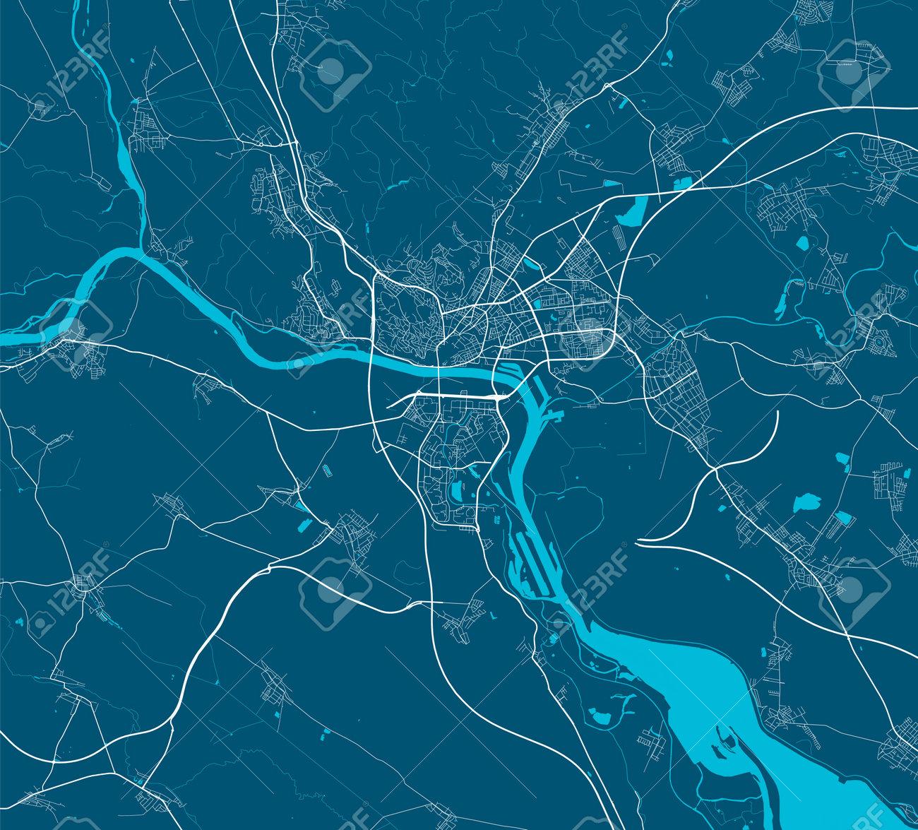 Vector map of Bratislava. Street map poster illustration. Bratislava map art. - 161392718