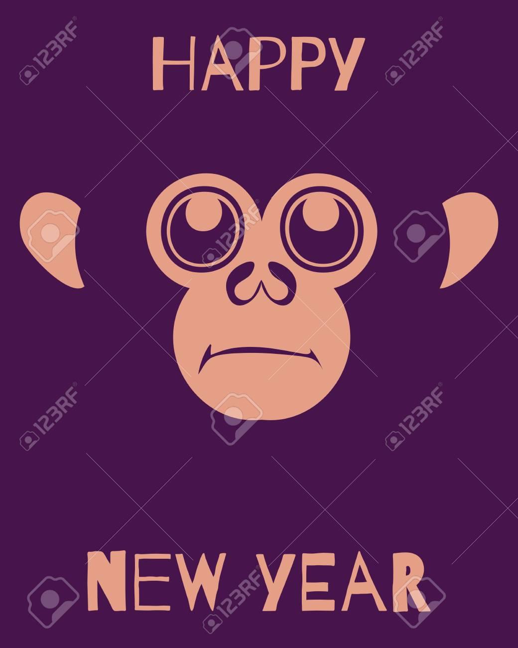 Vektor-Vorlage Mit Affengesicht Lächelnd. Frohes Neues Jahr-Muster ...