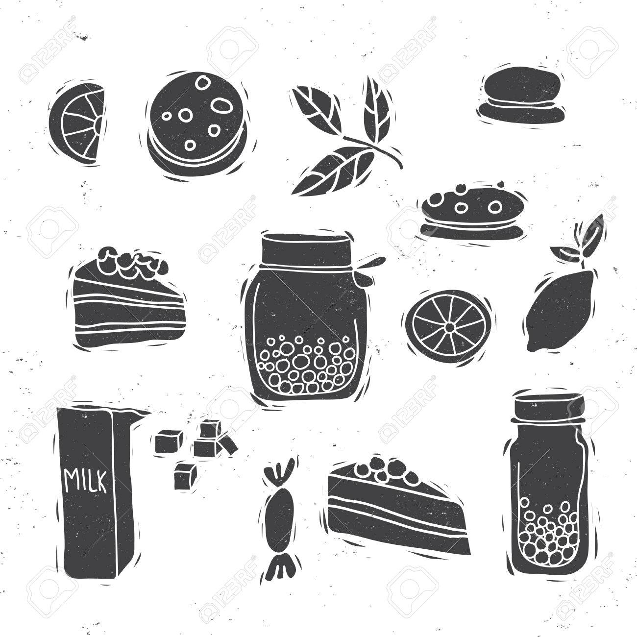 Jahrgang Dessert-Icon-Set. Tee-Thema. Kuchen, Milch, Zitrone ...