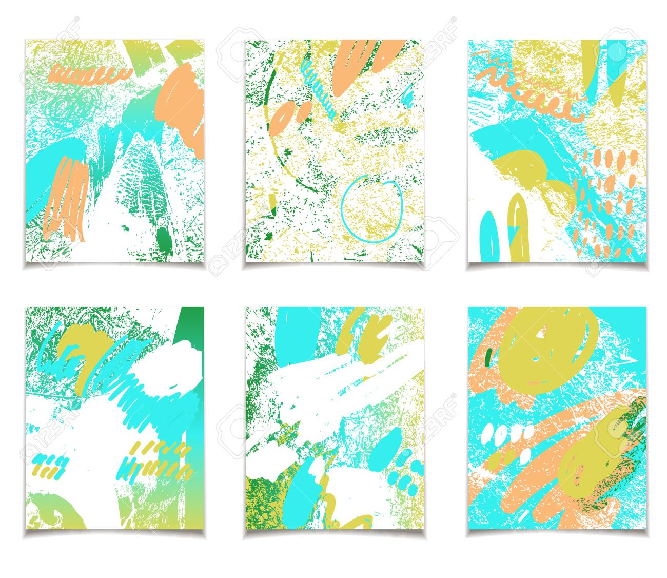 Vector Card Collection With Abstract Summer Design. Textured ...