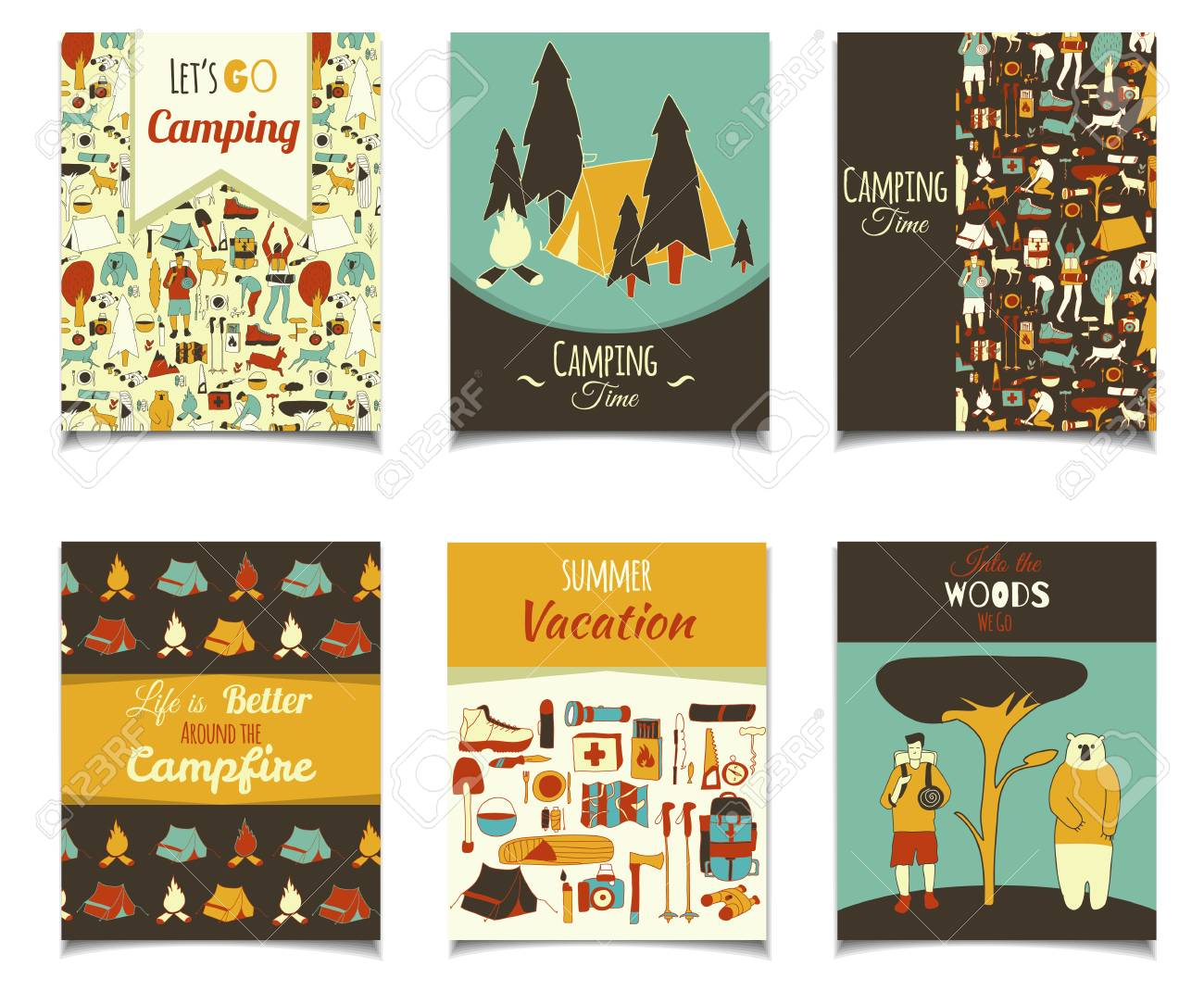 Camping Christmas Cards.Vector Card Template Set With Cartoon Camping Objects Retro