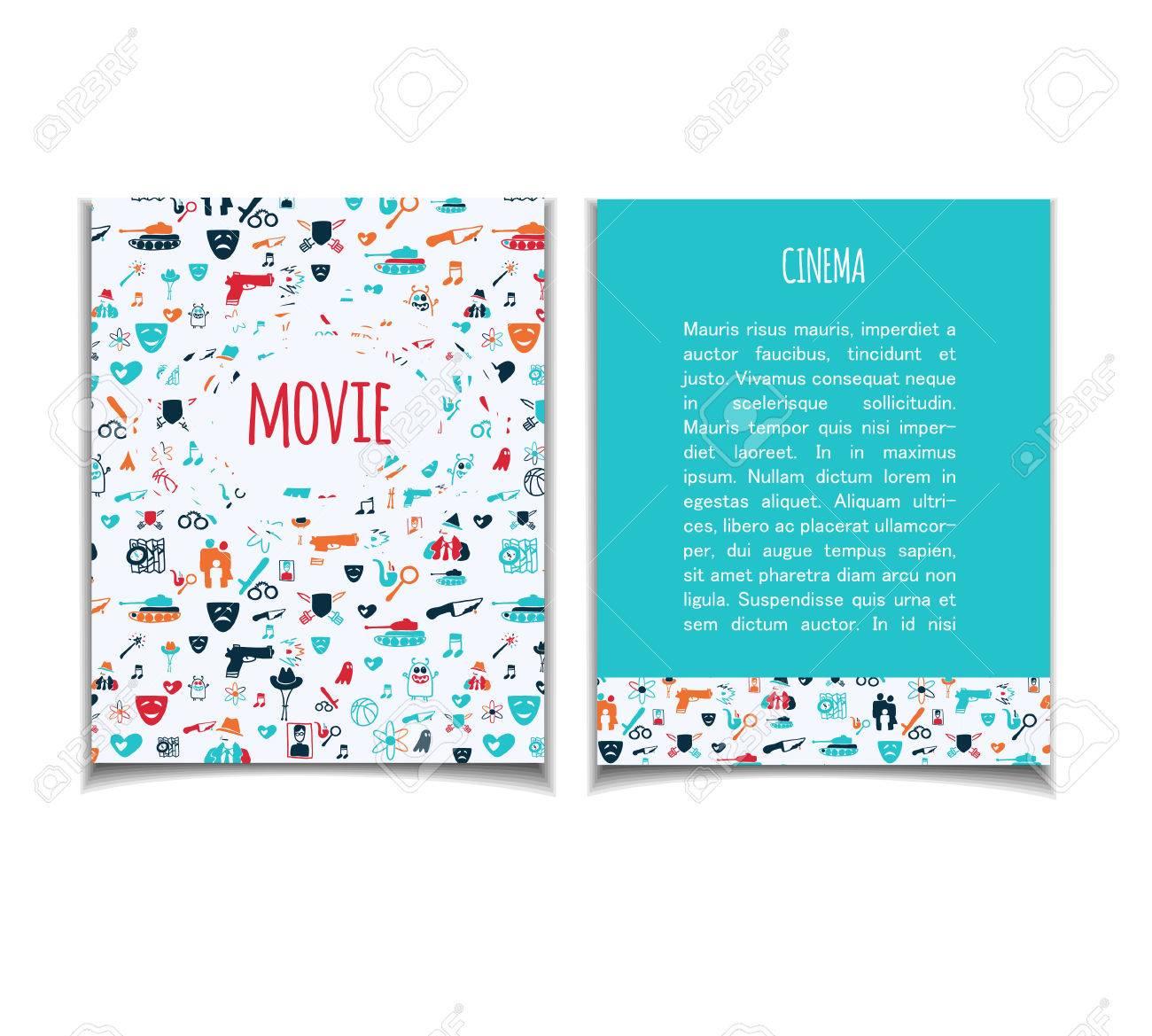 Kino Vektor Vorlage Festgelegt Film Genre Thema Action Romantik