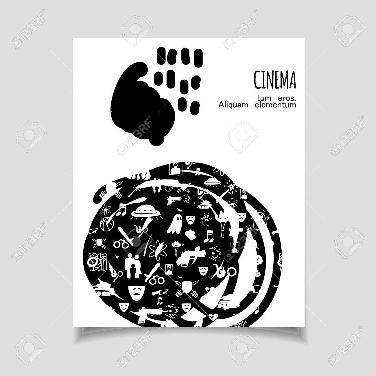 Cinema Vector Template Set. Movie Genre Theme: Action, Romance ...