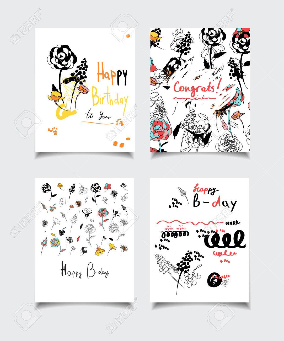vector card collection with abstract design flower patterns