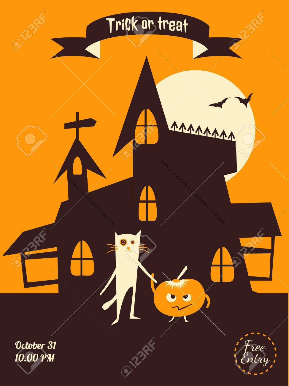Dracula Castle Cat And Pumplin Illustration For Party Invitation