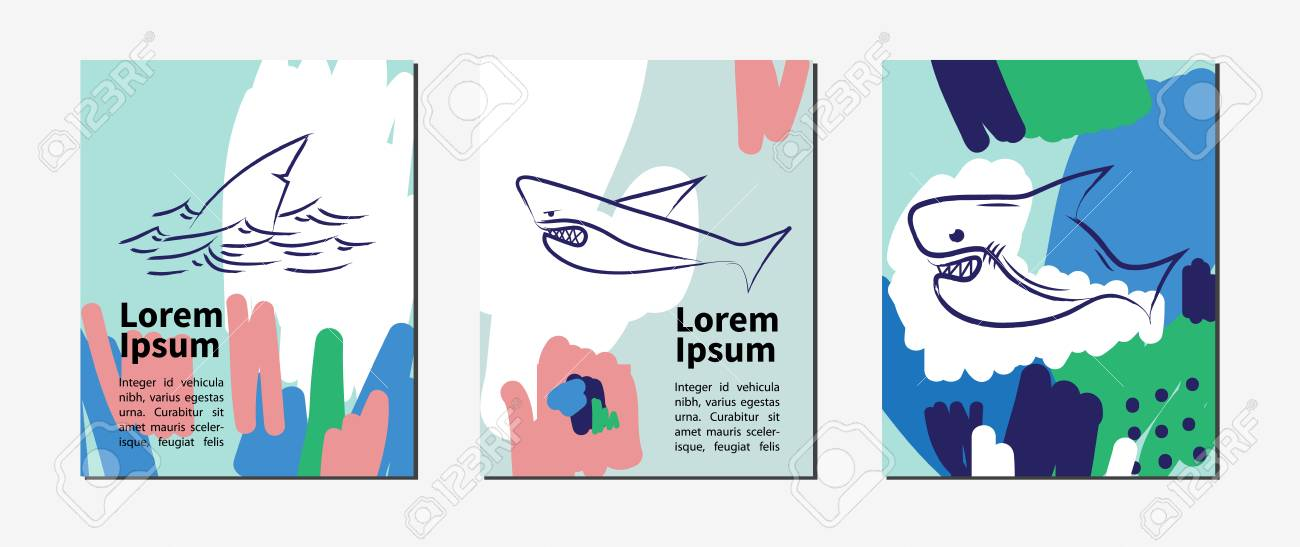 Vector Contemporary Greeting Card Set With Shark Hand Drawn
