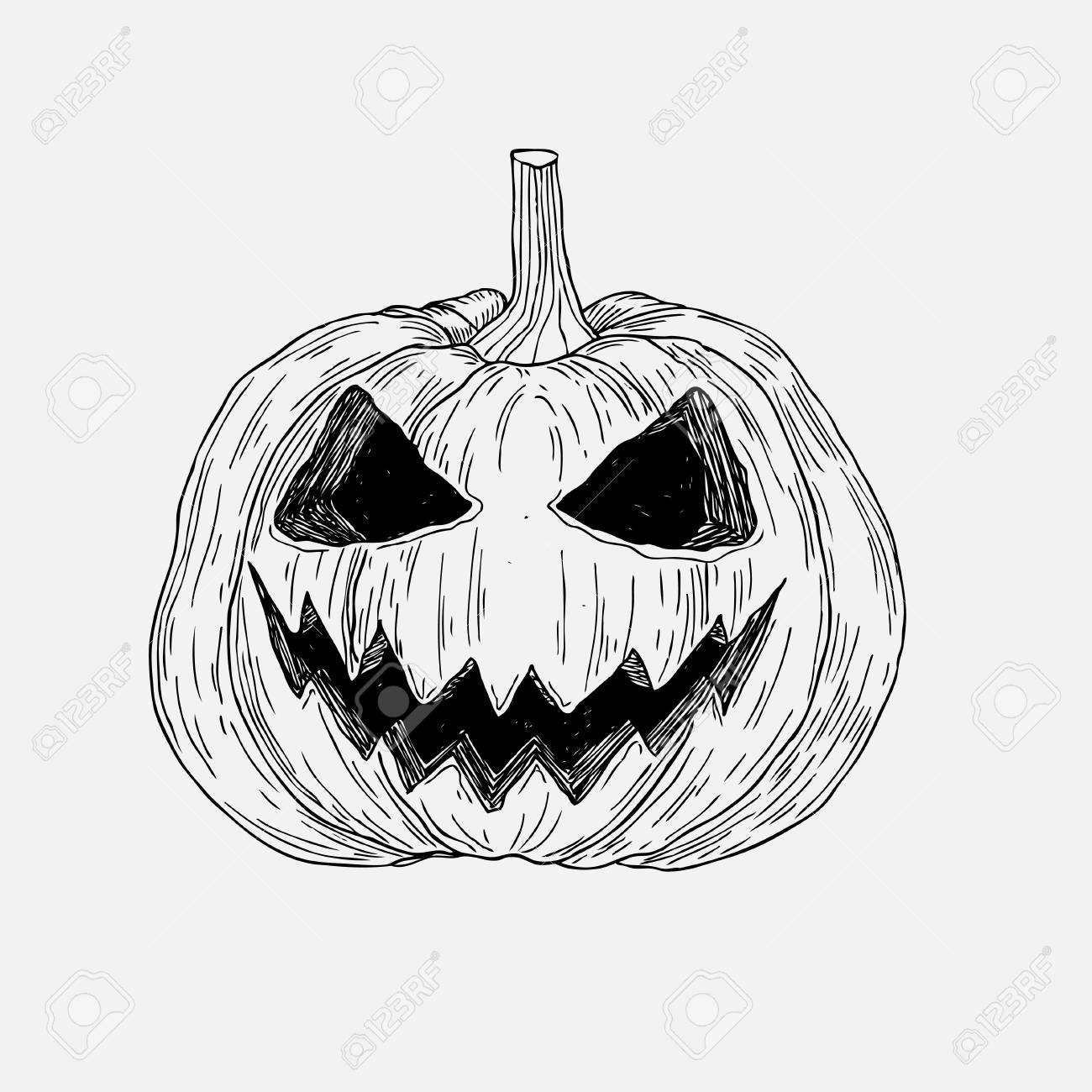 a87537613 Vector - Vector hand drawn Halloween pumpkin with evil scary smile. Graphic  sketch for posters, tattoo, clothes, t-shirt design, pins, patches, badges,  ...