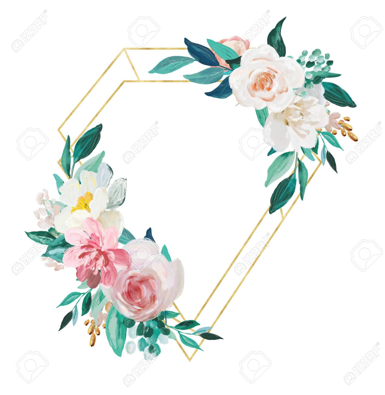 Blush And Mint Floral And Gold Frame Isolated On White Background