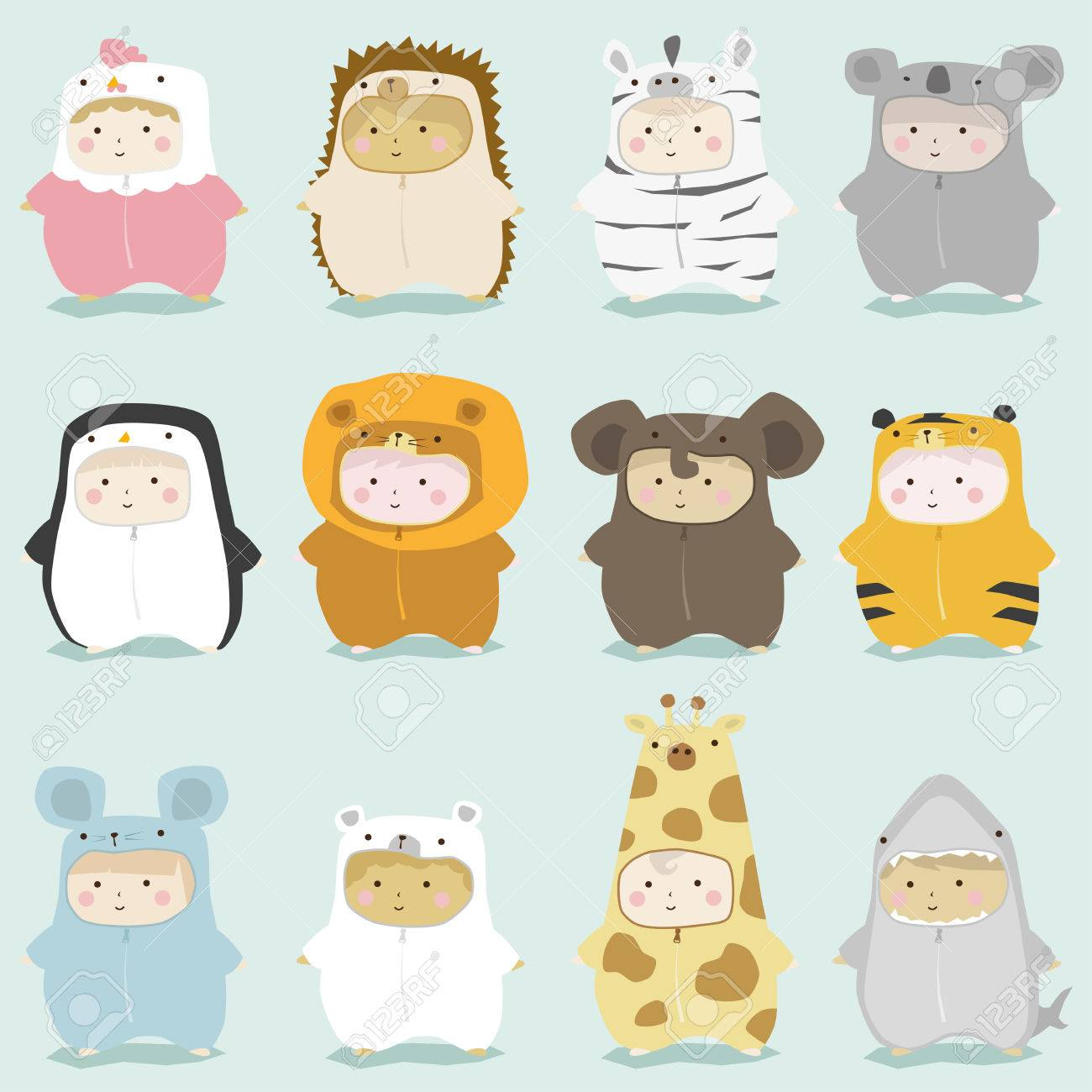 Set of kids in cute animal costumes 2 , vector , illustration - 53580639
