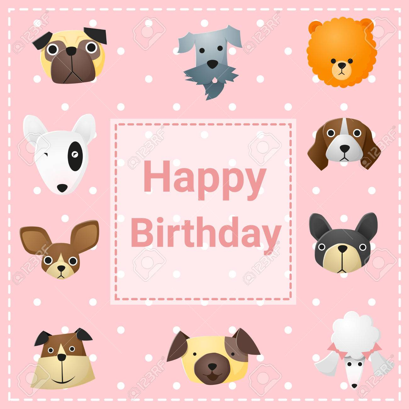 Cute Happy Birthday Card With Funny Dogs Vector Illustration Stock