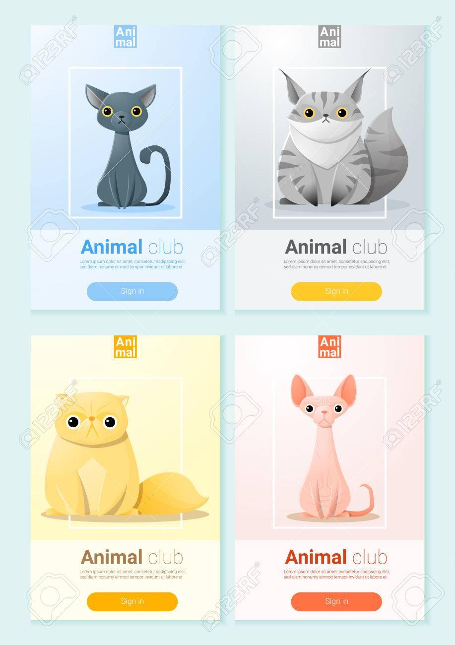 猫と動物のバナー Web デザイン ベクトル イラストのイラスト素材