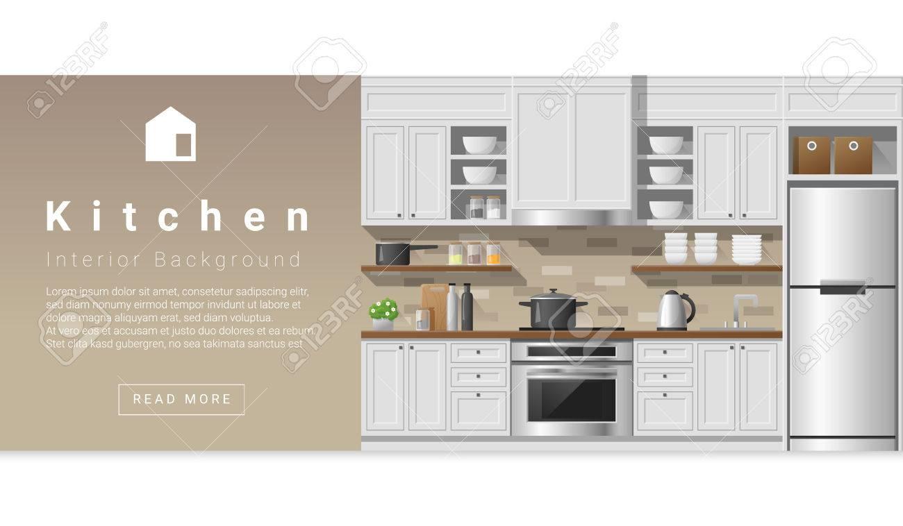 Awesome Interior Design Moderne Küche Hintergrund, Vektor, Standard Bild   62780813