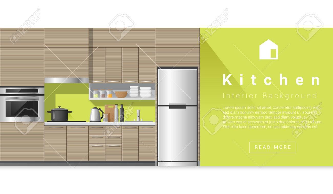 Interior Design Moderne Küche Hintergrund, Vektor, Standard Bild   62780816