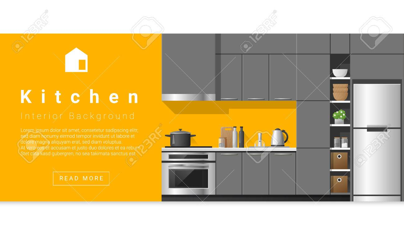 Interior Design Moderne Küche Hintergrund, Vektor, Lizenzfrei ...