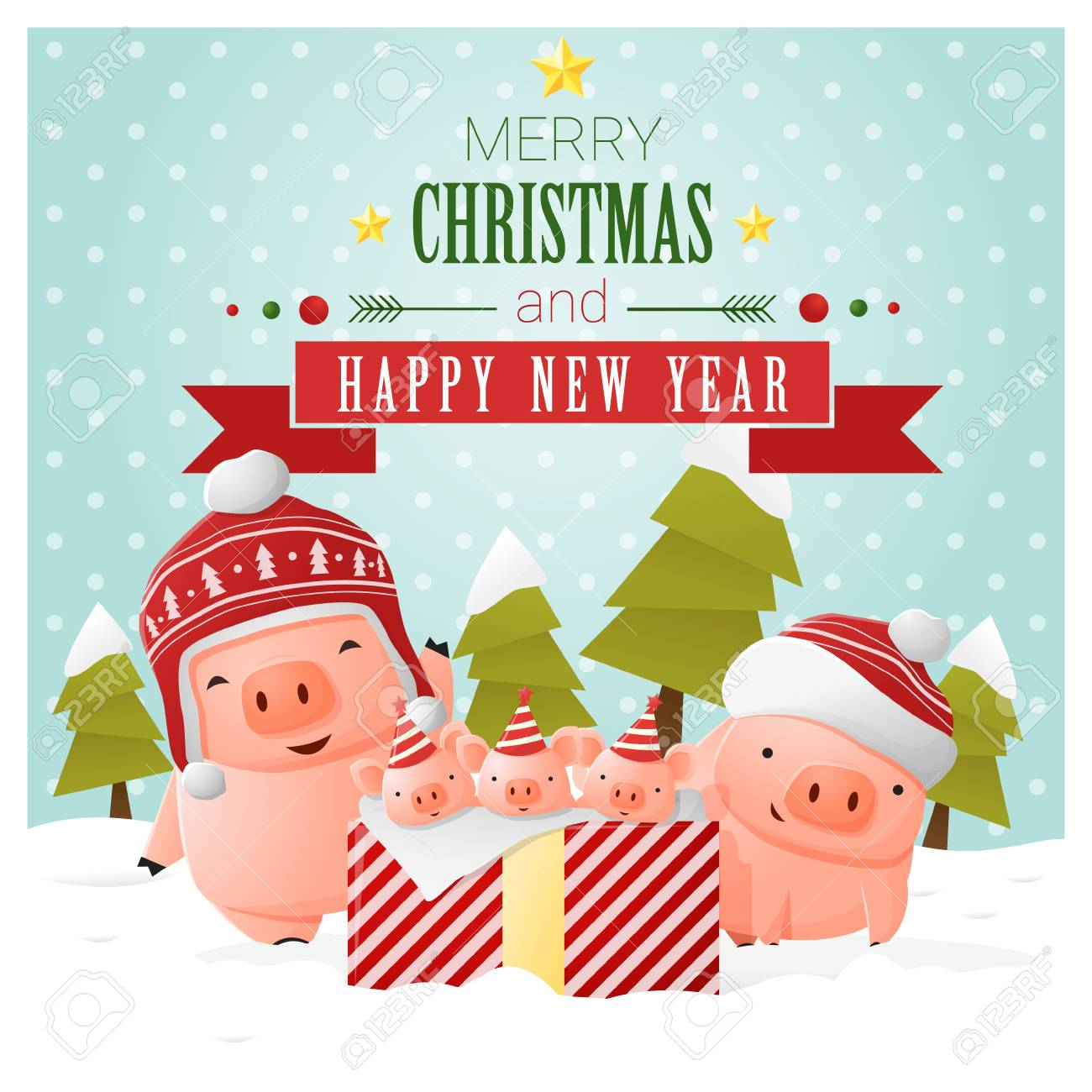 merry christmas and happy new year greeting card with pig family vector illustration stock