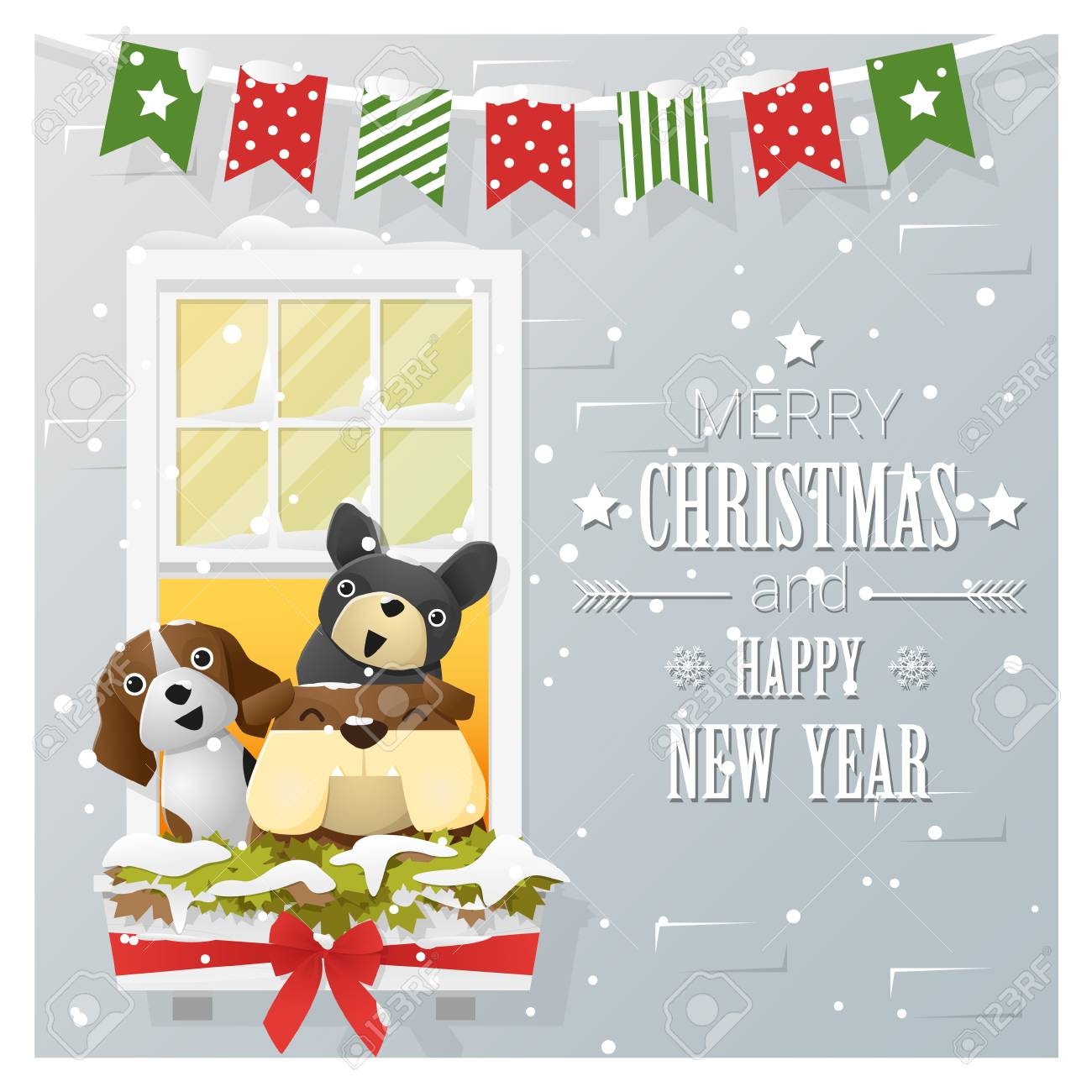 merry christmas and happy new year greeting card with dog family vector illustration stock