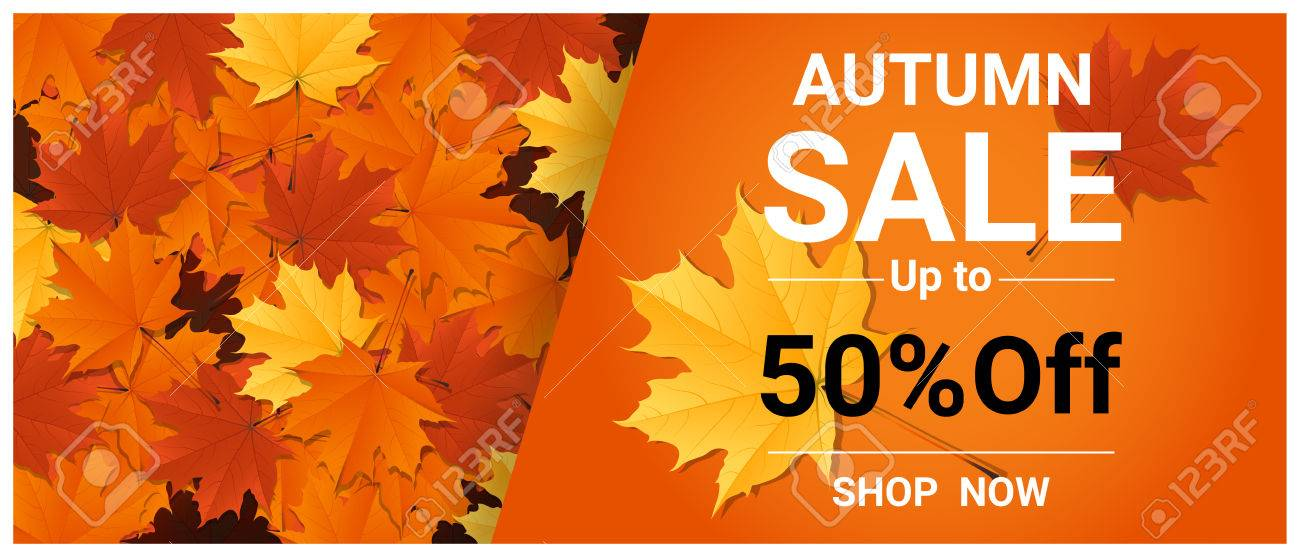Autumn sale banner with colorful leaves , vector , illustration - 83241427