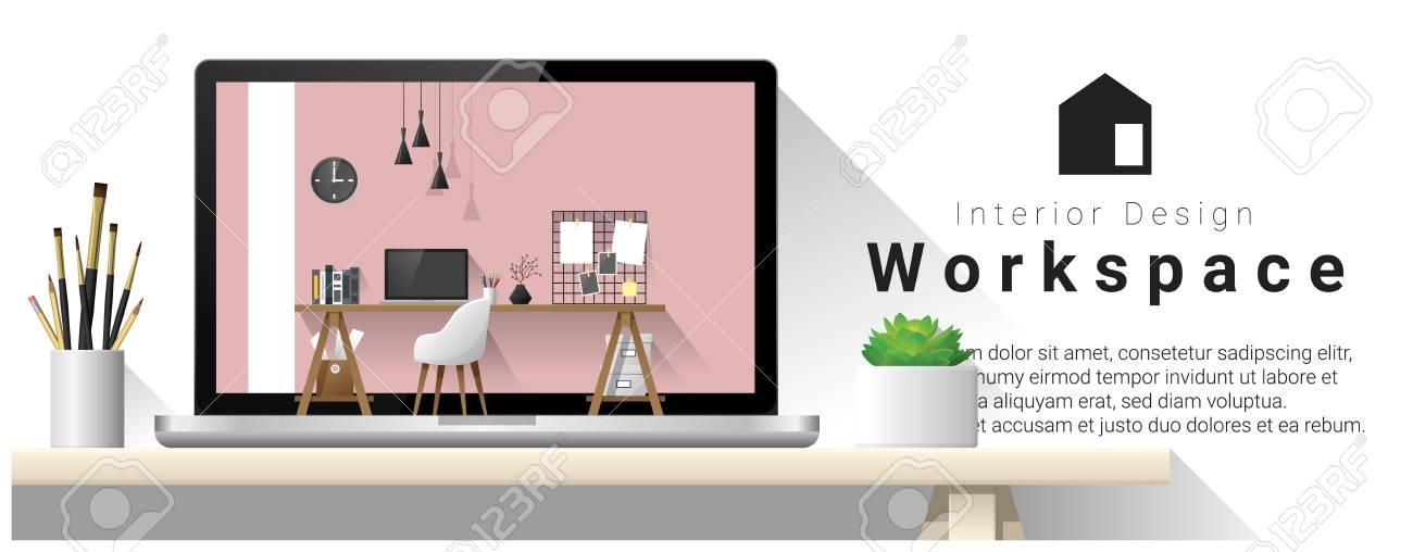 Interior Design Of Modern Office Workplace , Vector , Illustration ...