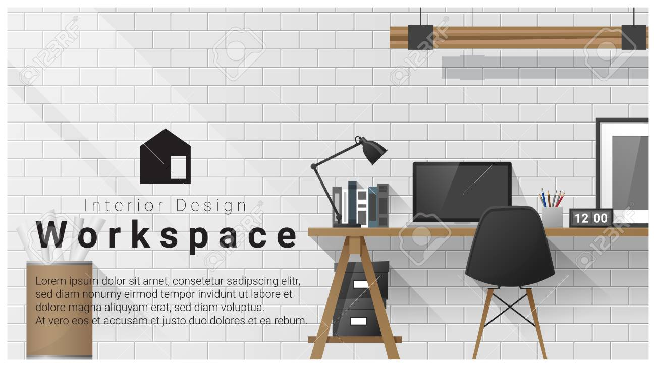 Design D\'intérieur Avec Fond De Lieu De Travail Moderne, Vecteur ...