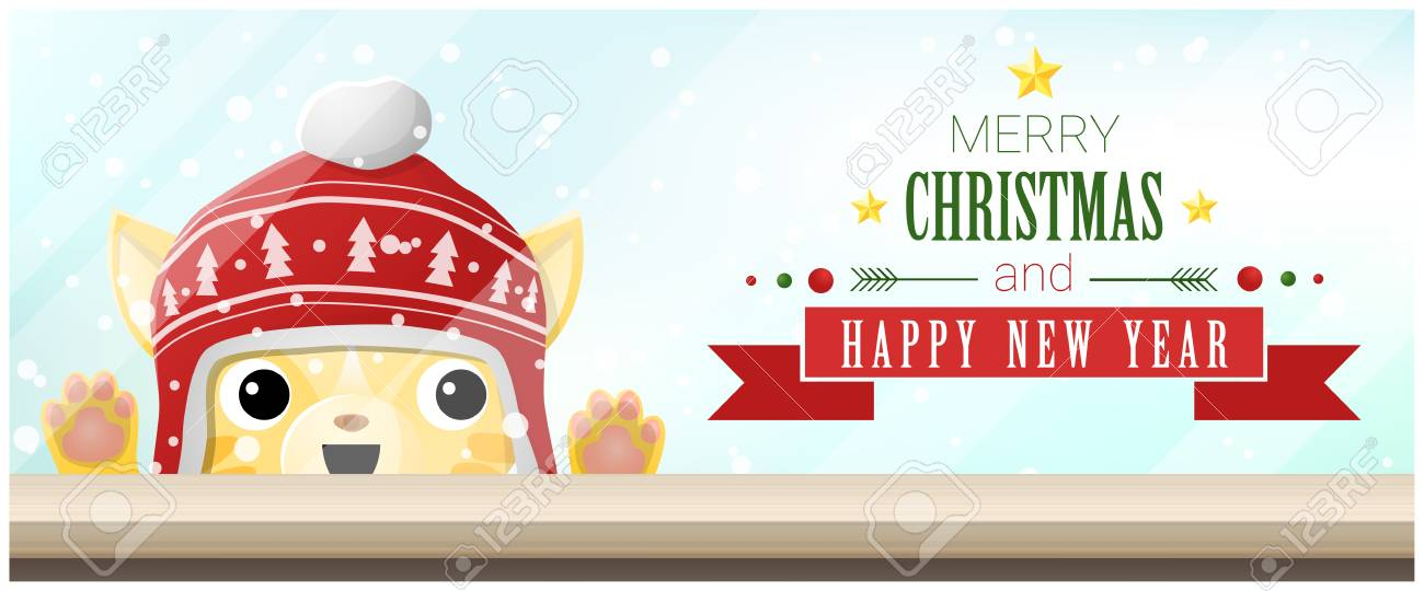 merry christmas and happy new year background with cat looking at empty table top vector