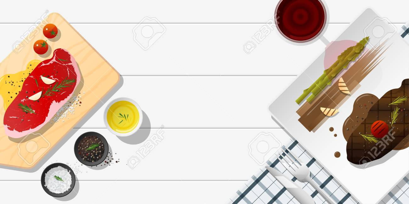 Raw fresh meat and grilled meat strip loin steak on white table , healthy food background , vector , illustration - 114773746