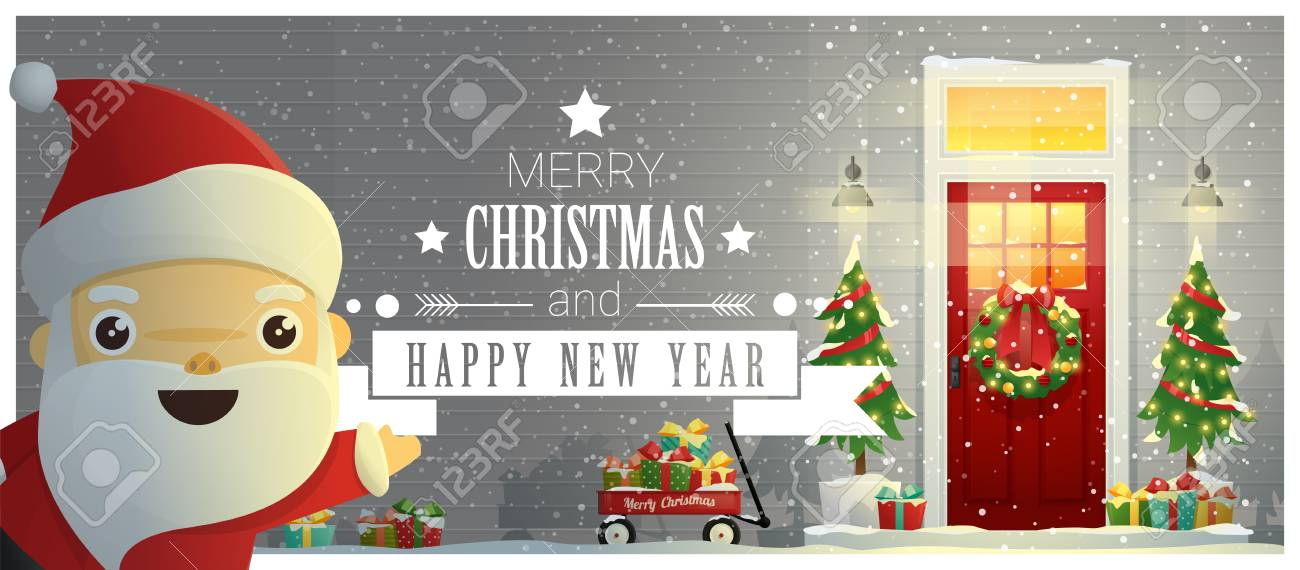 merry christmas and happy new year background with decorated christmas front door and santa claus