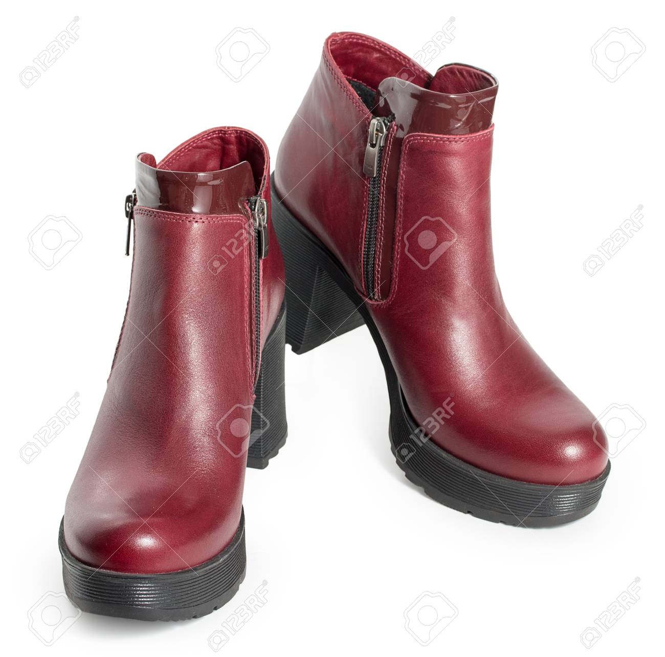 Dark Red Womens Leather Boots Isolated