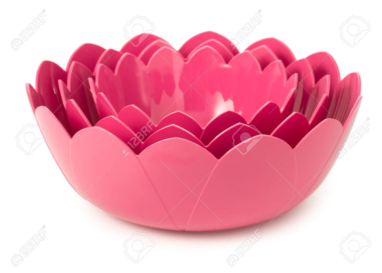 Set Of 3 Pink Plastic Bowls Made In Shape Of Flowers Of Lotus