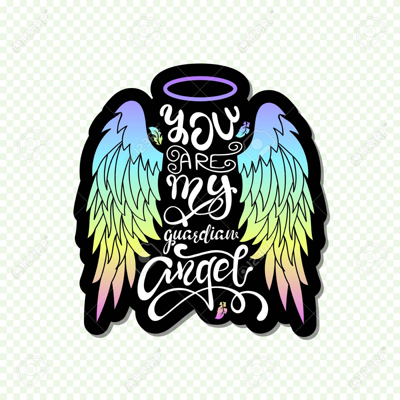 """""""You are My Guardian Angel!"""" Isolated Lettering. Cartoon angel wings with a halo and calligraphic message. Hand Written Unique Typography Design. - 113453598"""