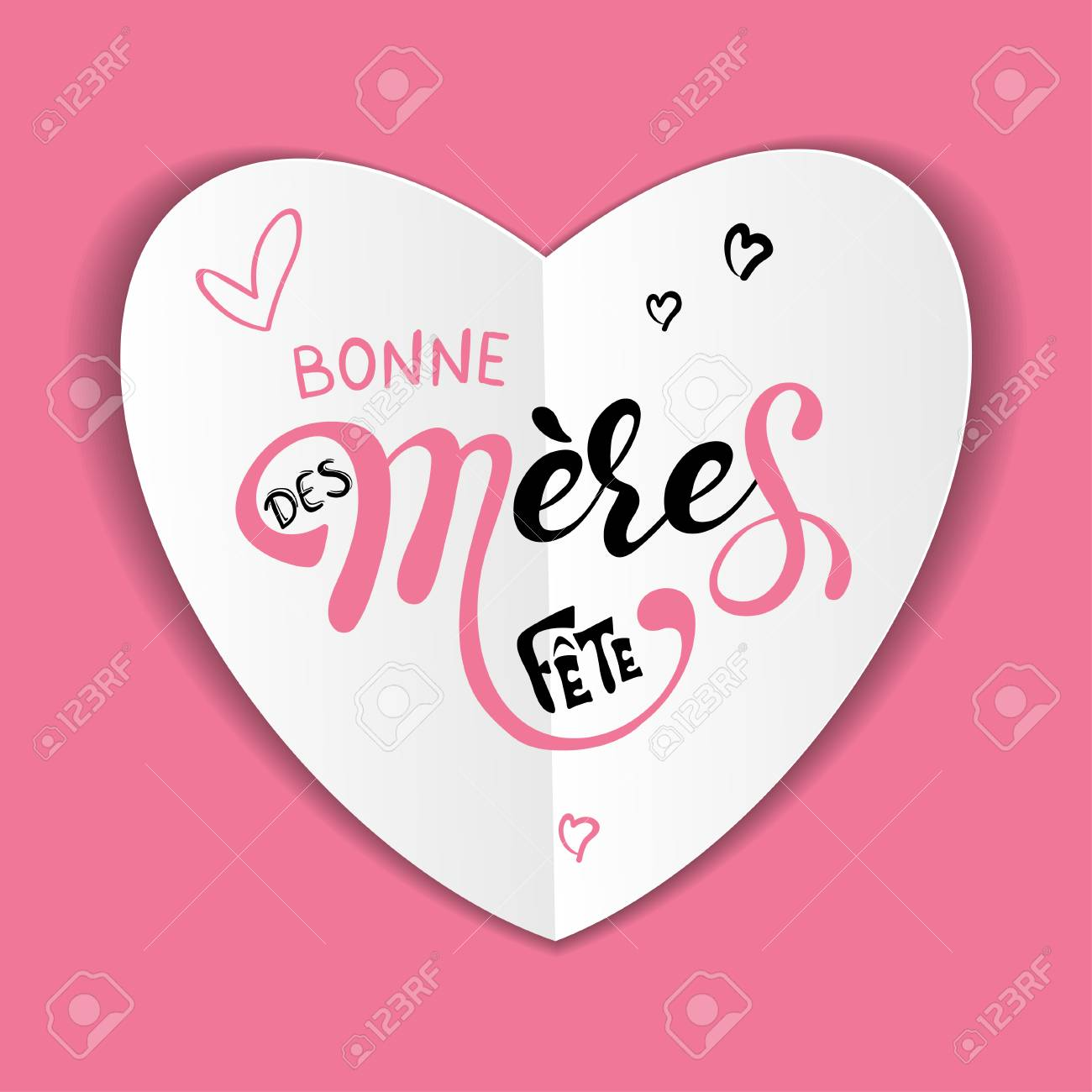 Mothers day Bonne fete des Meres Mothers day greeting card in french hand drawn lettering - 126551147