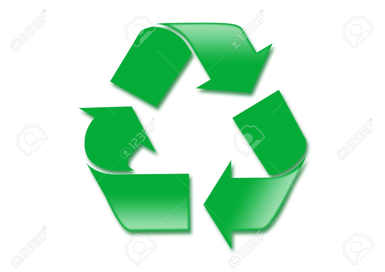 Simple green recycle symbol on white background Stock Photo - 4623648